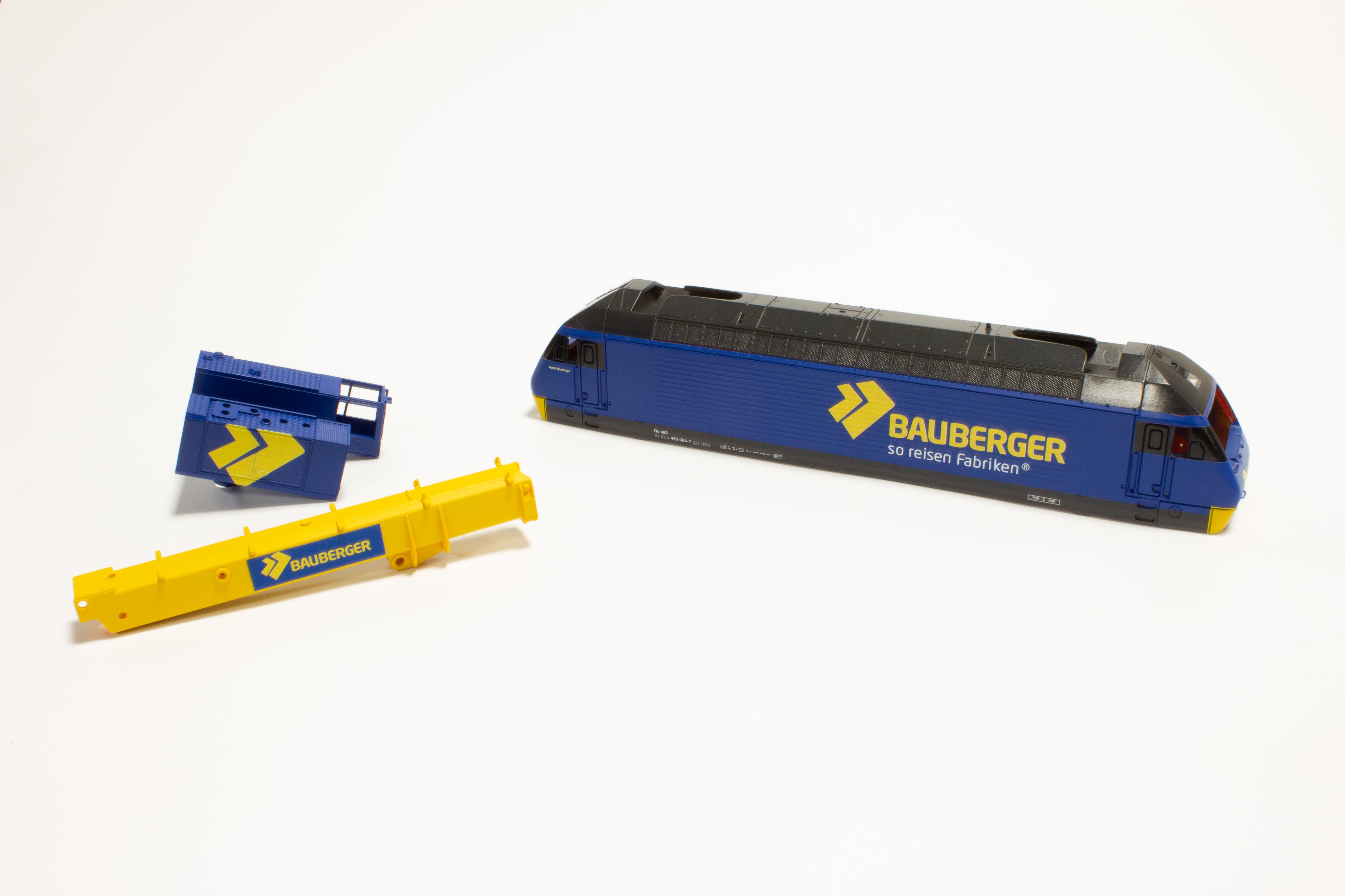 Bauberger Re460 und Kran SpurH0