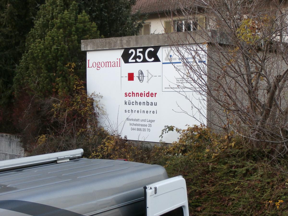 Gewerbeareal Signaletik Logotafel