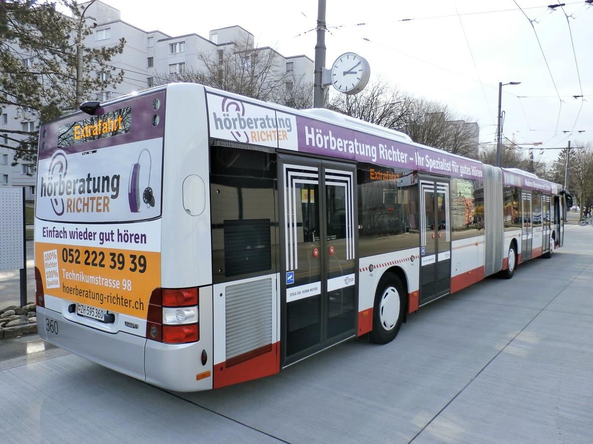 Fahrzeug-Beschriftung Gelenkbus Stadt Winterthur