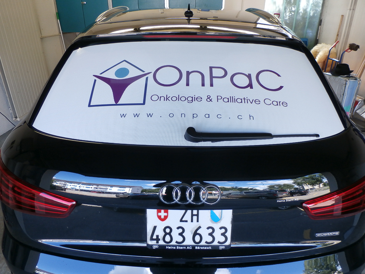 Fahrzeug-Beschriftung Heckscheibe Windowfolie