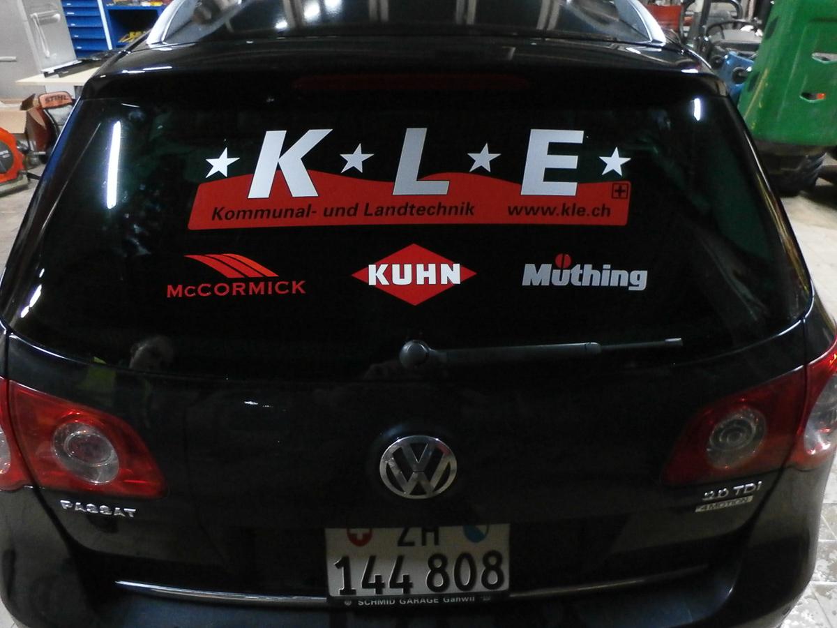 Fahrzeug-Beschriftung Heckscheibe KLE
