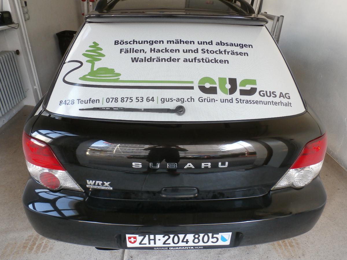 Fahrzeug-Beschriftung Heckscheibe GUS AG