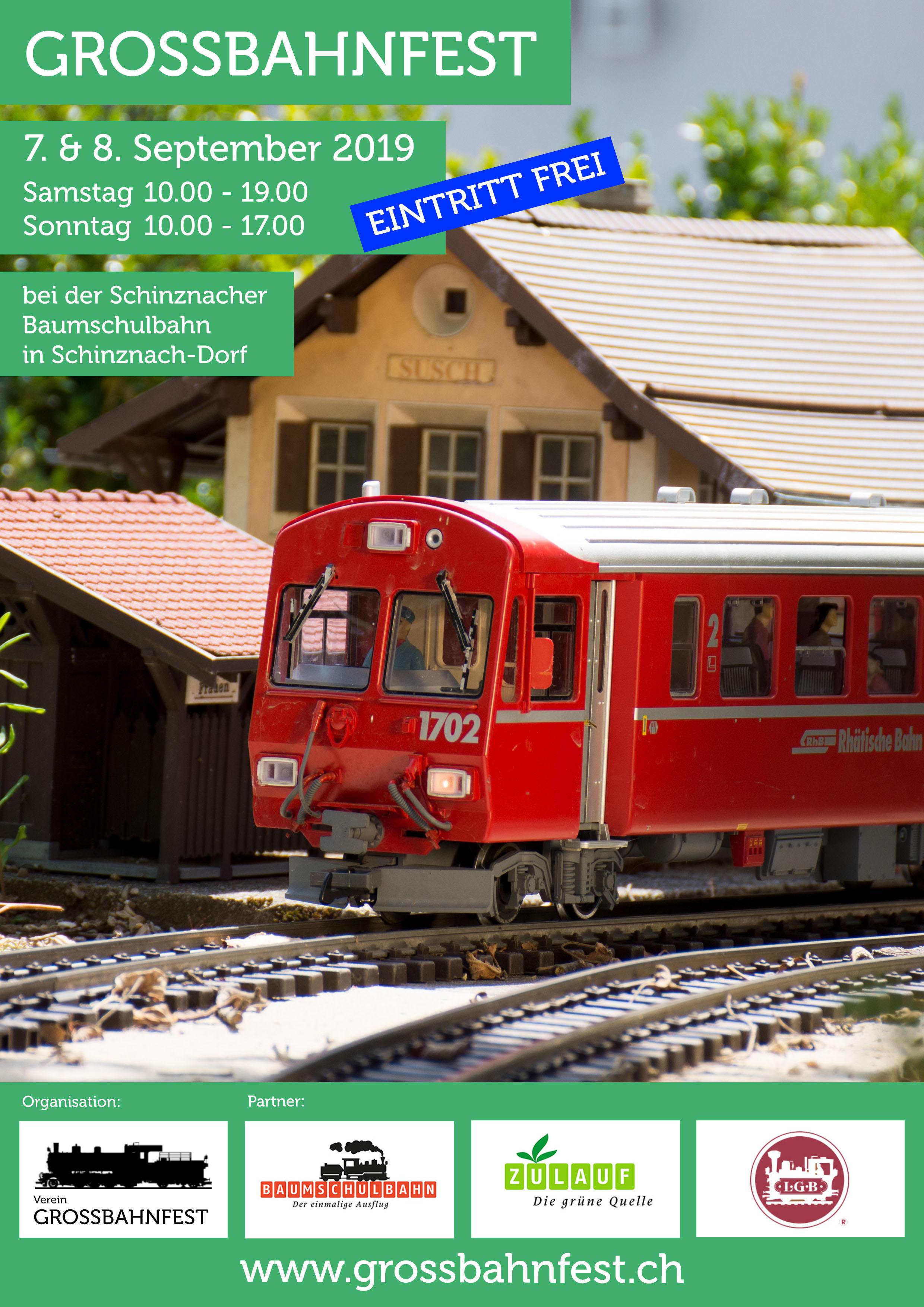Flyer Grossbahnfest Baumschulbahn Schinznach 2019